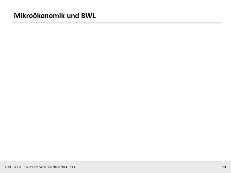 KOOTHS | BiTS: Mikroökonomik WS 2013/2014, Teil 1 13 Mikroökonomik und BWL
