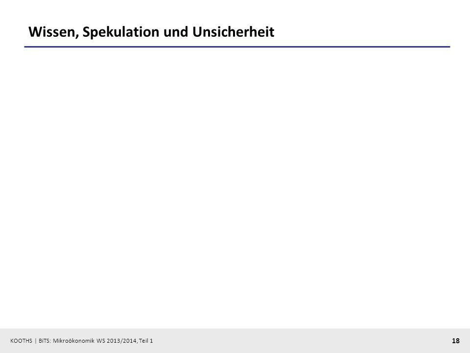 KOOTHS | BiTS: Mikroökonomik WS 2013/2014, Teil 1 18 Wissen, Spekulation und Unsicherheit