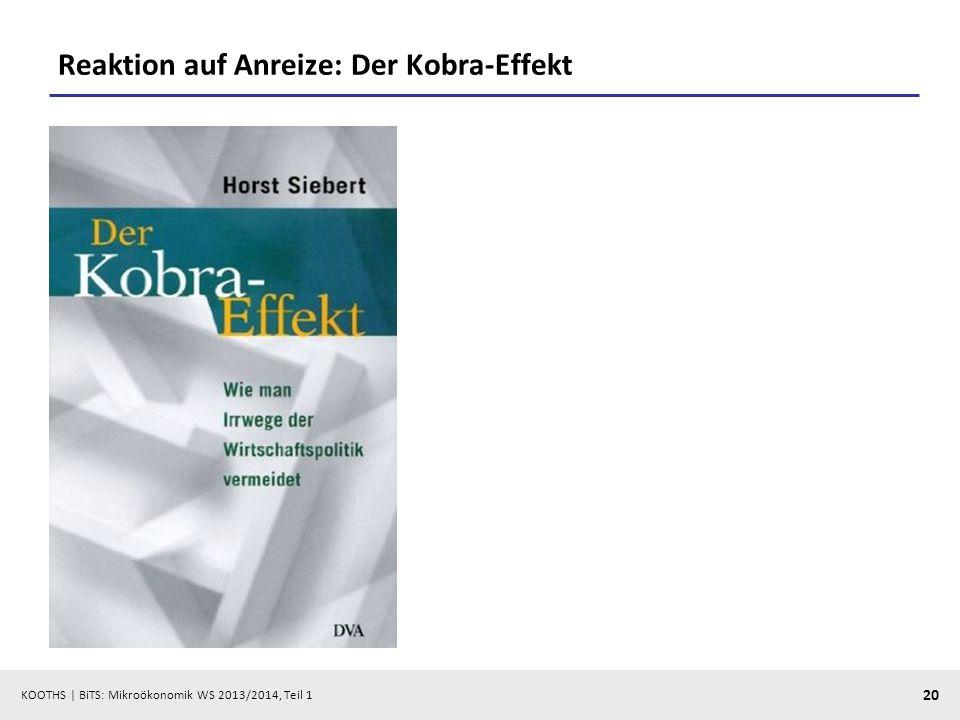 KOOTHS | BiTS: Mikroökonomik WS 2013/2014, Teil 1 20 Reaktion auf Anreize: Der Kobra-Effekt