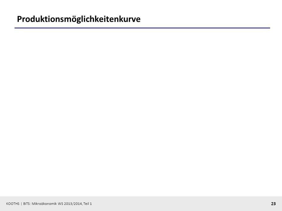 KOOTHS | BiTS: Mikroökonomik WS 2013/2014, Teil 1 23 Produktionsmöglichkeitenkurve