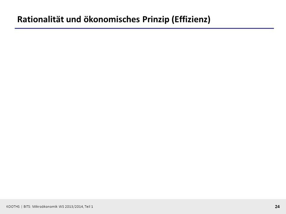 KOOTHS | BiTS: Mikroökonomik WS 2013/2014, Teil 1 24 Rationalität und ökonomisches Prinzip (Effizienz)