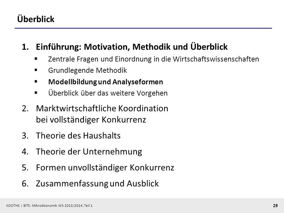 KOOTHS | BiTS: Mikroökonomik WS 2013/2014, Teil 1 29 Überblick 1.Einführung: Motivation, Methodik und Überblick Zentrale Fragen und Einordnung in die