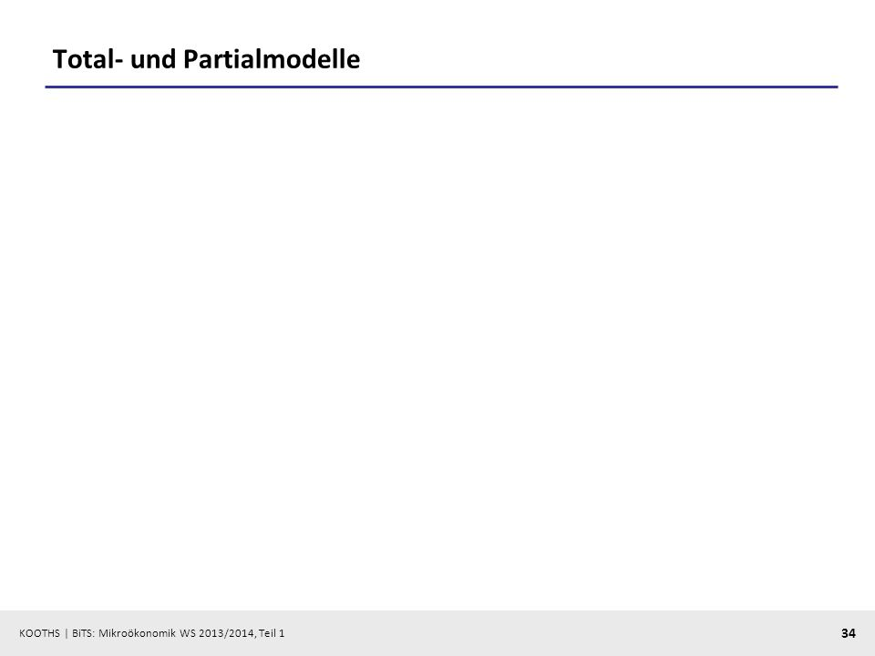 KOOTHS | BiTS: Mikroökonomik WS 2013/2014, Teil 1 34 Total- und Partialmodelle