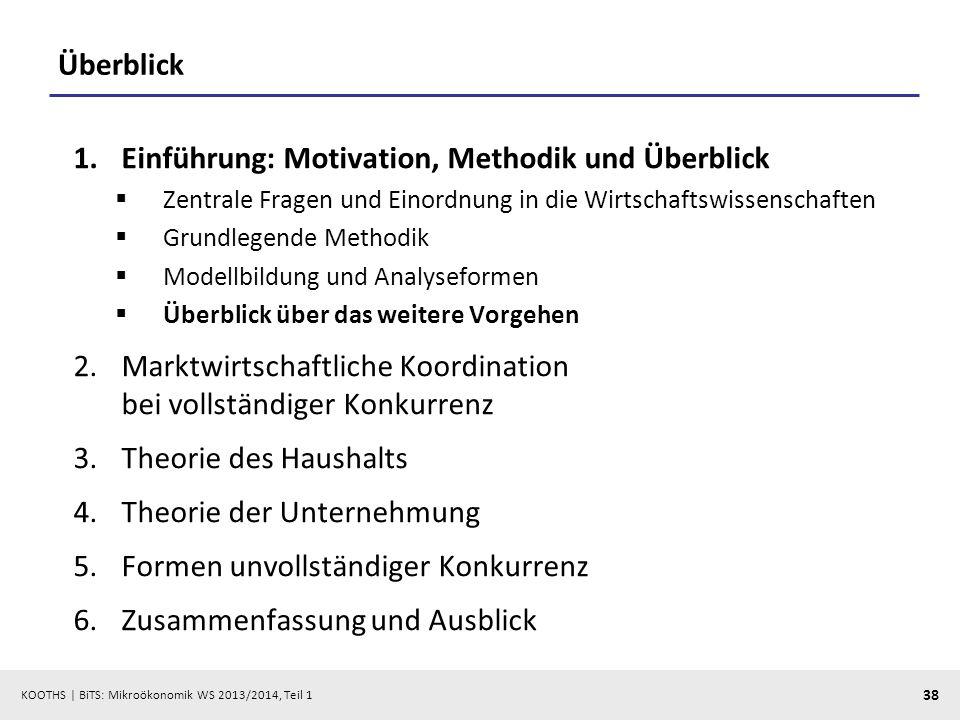 KOOTHS | BiTS: Mikroökonomik WS 2013/2014, Teil 1 38 Überblick 1.Einführung: Motivation, Methodik und Überblick Zentrale Fragen und Einordnung in die