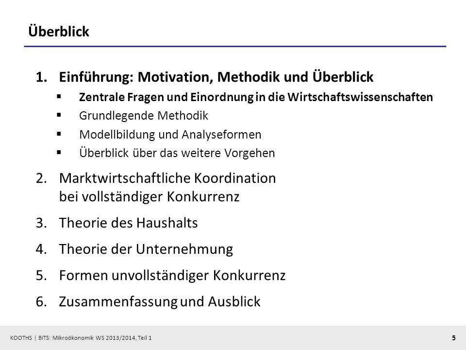 KOOTHS | BiTS: Mikroökonomik WS 2013/2014, Teil 1 5 Überblick 1.Einführung: Motivation, Methodik und Überblick Zentrale Fragen und Einordnung in die W
