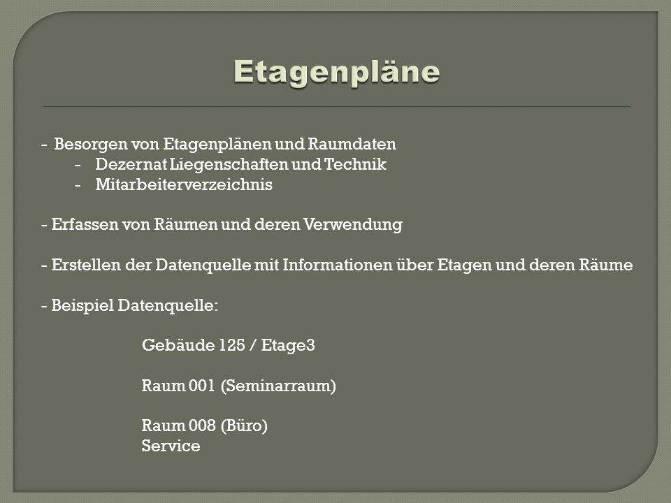 -Besorgen von Etagenplänen und Raumdaten -Dezernat Liegenschaften und Technik -Mitarbeiterverzeichnis - Erfassen von Räumen und deren Verwendung - Ers
