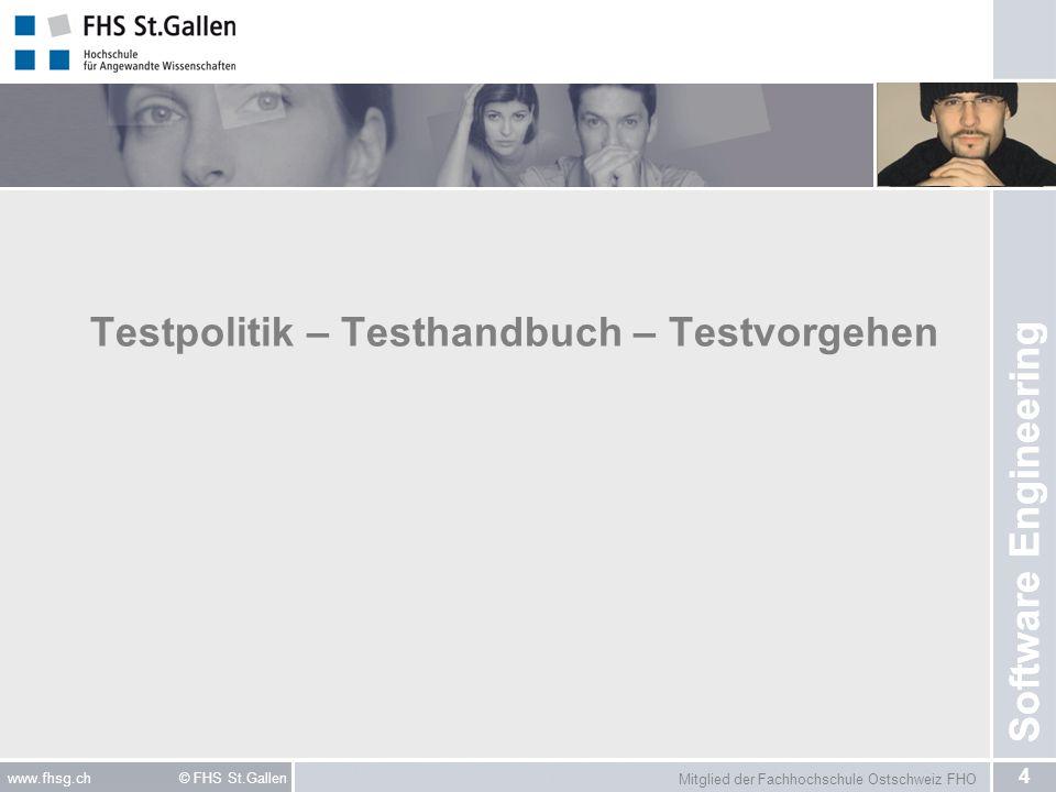 Mitglied der Fachhochschule Ostschweiz FHO 15 www.fhsg.ch © FHS St.Gallen Software Engineering Testvorgehen III: Horizontales Testen Schichtenweises Testen –Top-Down (Outsight In) – vom GUI her testen –Bottom-Up (Insight Out) – vom Backend her testen Vorteil: –Eingrenzung der Komplexität Nachteil: –Spezielle Testsoftware notwendig