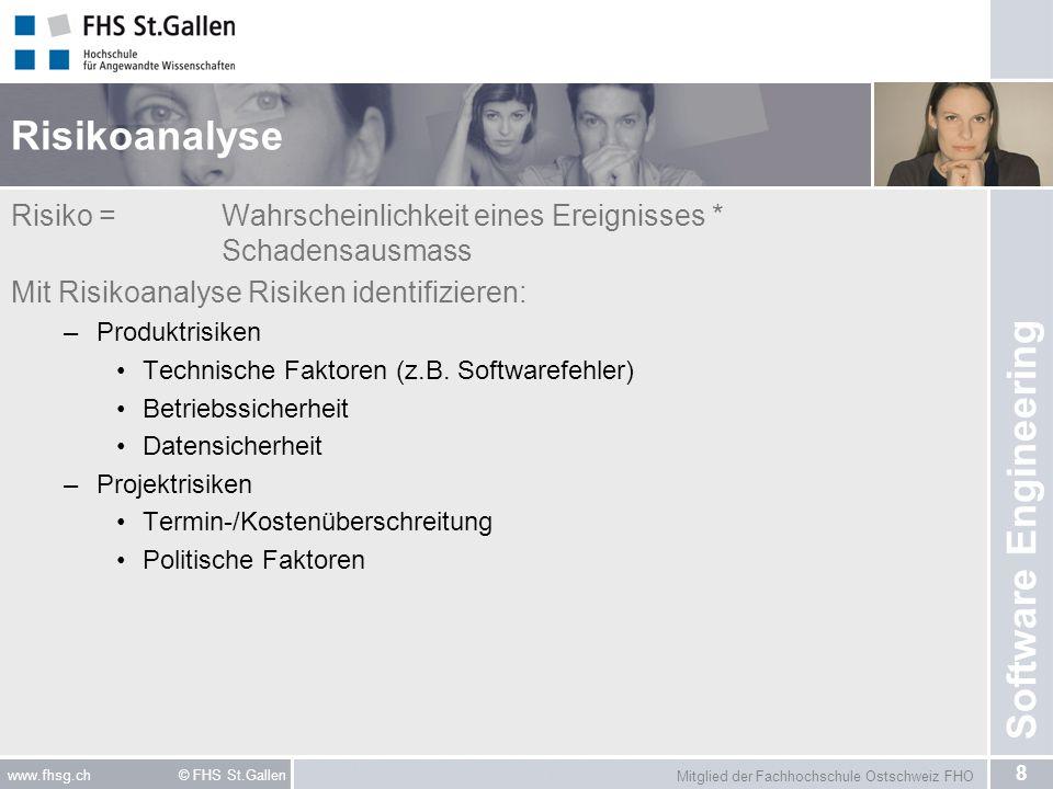 Mitglied der Fachhochschule Ostschweiz FHO 8 www.fhsg.ch © FHS St.Gallen Software Engineering Risikoanalyse Risiko = Wahrscheinlichkeit eines Ereignis