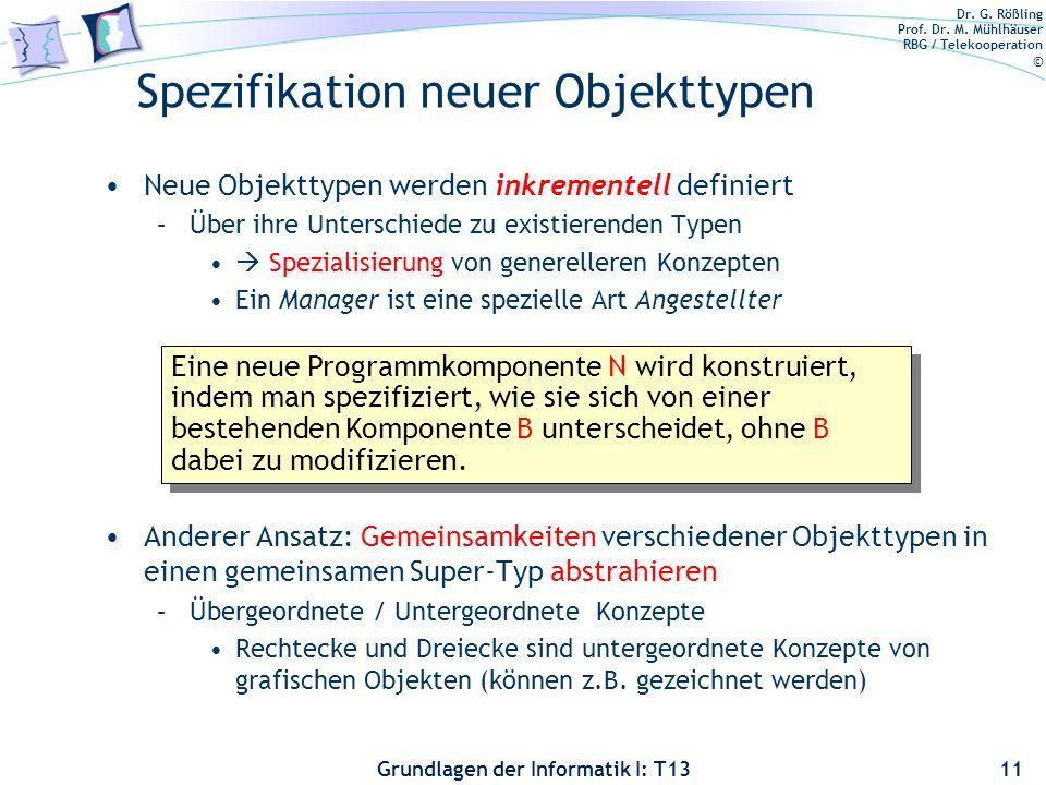 Dr. G. Rößling Prof. Dr. M. Mühlhäuser RBG / Telekooperation © Grundlagen der Informatik I: T13 Spezifikation neuer Objekttypen Neue Objekttypen werde
