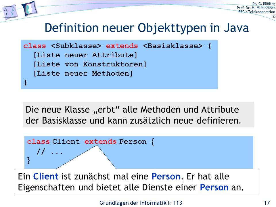 Dr. G. Rößling Prof. Dr. M. Mühlhäuser RBG / Telekooperation © Grundlagen der Informatik I: T13 Definition neuer Objekttypen in Java 17 Die neue Klass