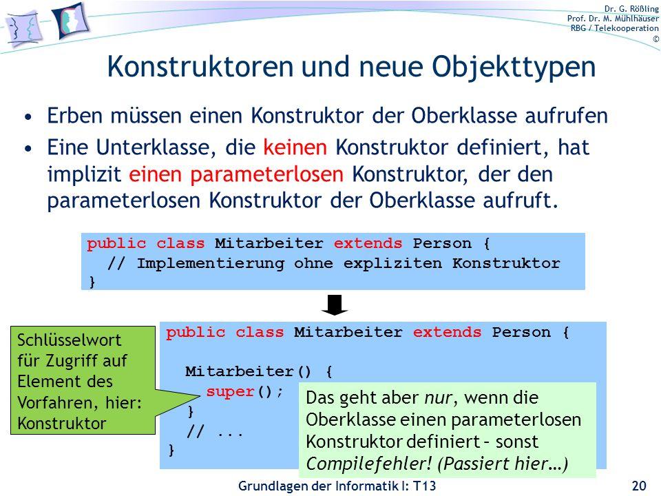 Dr. G. Rößling Prof. Dr. M. Mühlhäuser RBG / Telekooperation © Grundlagen der Informatik I: T13 Konstruktoren und neue Objekttypen 20 Erben müssen ein