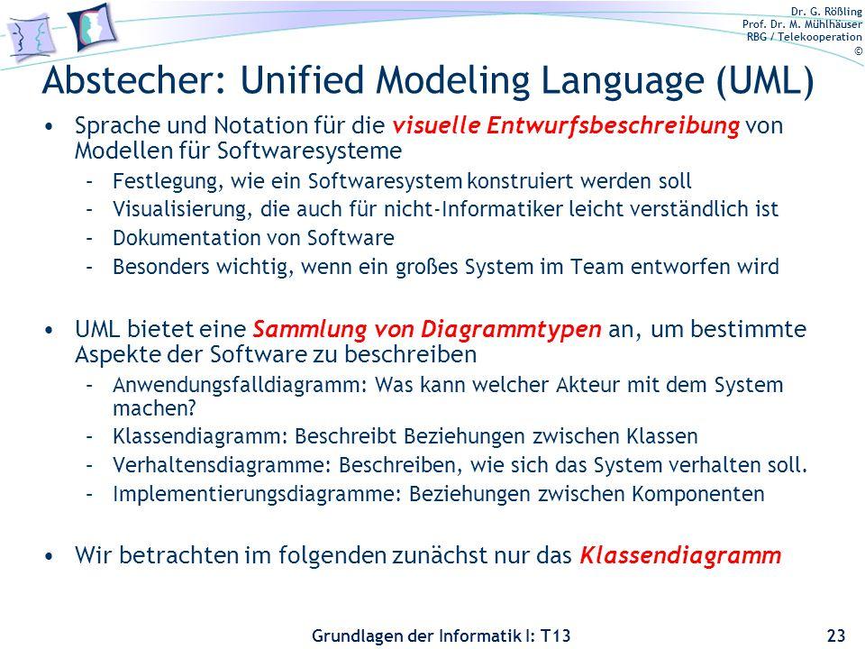 Dr. G. Rößling Prof. Dr. M. Mühlhäuser RBG / Telekooperation © Grundlagen der Informatik I: T13 Abstecher: Unified Modeling Language (UML) Sprache und