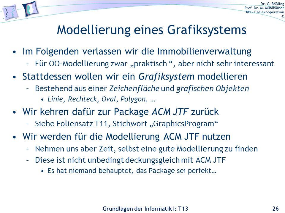 Dr. G. Rößling Prof. Dr. M. Mühlhäuser RBG / Telekooperation © Grundlagen der Informatik I: T13 Modellierung eines Grafiksystems Im Folgenden verlasse