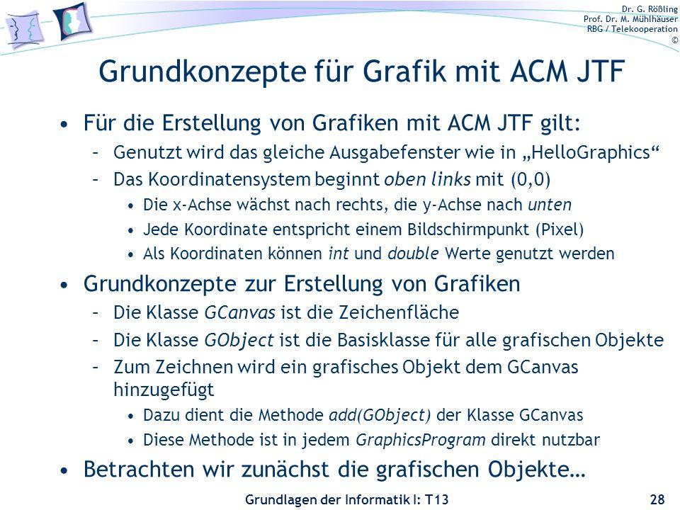 Dr. G. Rößling Prof. Dr. M. Mühlhäuser RBG / Telekooperation © Grundlagen der Informatik I: T13 Grundkonzepte für Grafik mit ACM JTF Für die Erstellun
