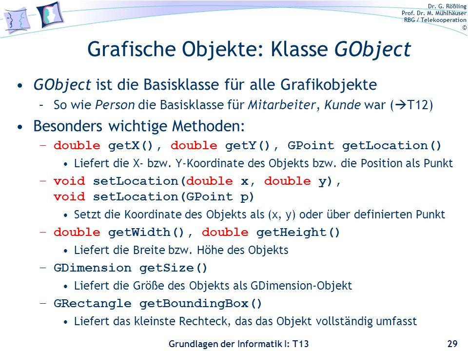 Dr. G. Rößling Prof. Dr. M. Mühlhäuser RBG / Telekooperation © Grundlagen der Informatik I: T13 Grafische Objekte: Klasse GObject GObject ist die Basi