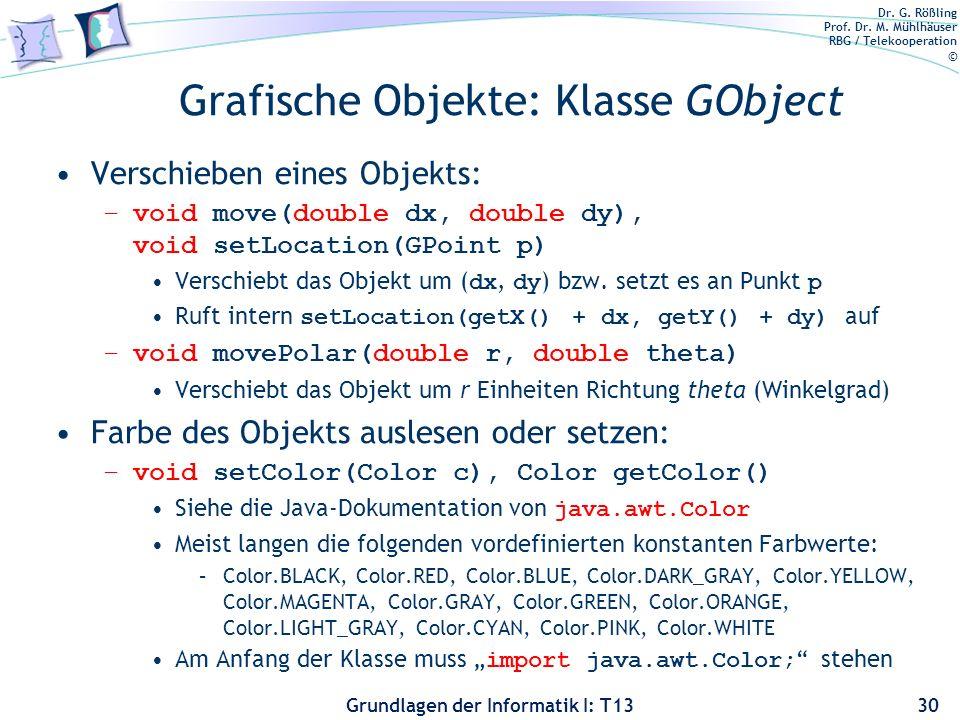 Dr. G. Rößling Prof. Dr. M. Mühlhäuser RBG / Telekooperation © Grundlagen der Informatik I: T13 Grafische Objekte: Klasse GObject Verschieben eines Ob