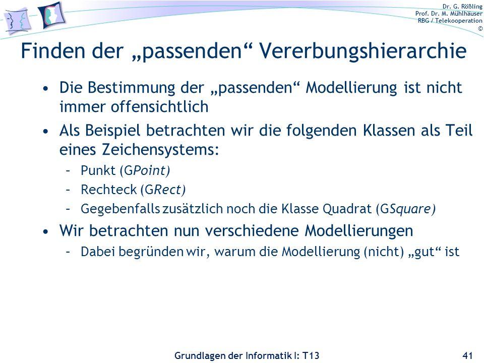 Dr. G. Rößling Prof. Dr. M. Mühlhäuser RBG / Telekooperation © Grundlagen der Informatik I: T13 Finden der passenden Vererbungshierarchie Die Bestimmu
