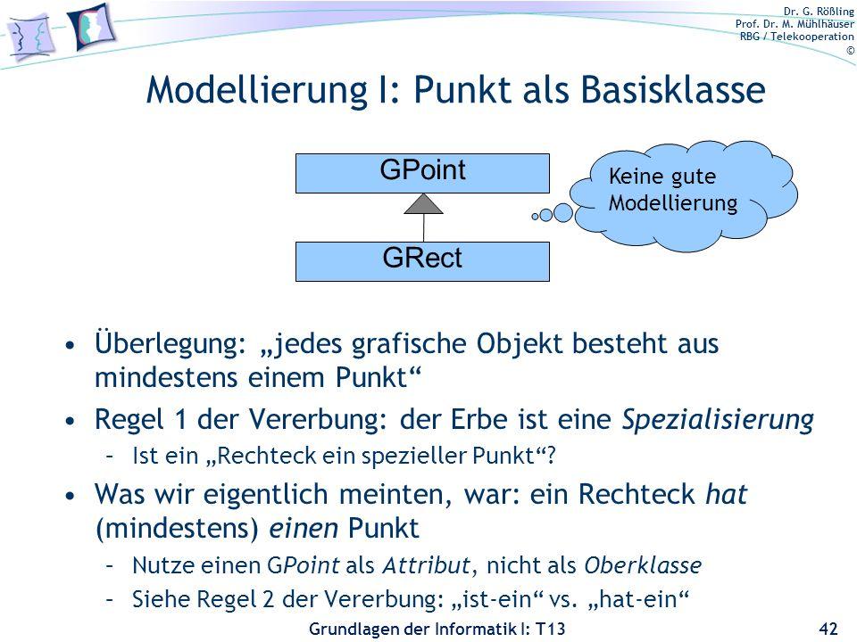 Dr. G. Rößling Prof. Dr. M. Mühlhäuser RBG / Telekooperation © Grundlagen der Informatik I: T13 Modellierung I: Punkt als Basisklasse Überlegung: jede