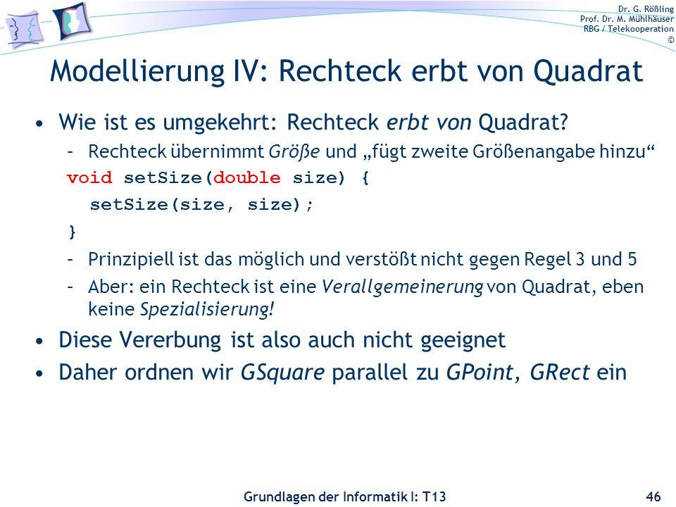 Dr. G. Rößling Prof. Dr. M. Mühlhäuser RBG / Telekooperation © Grundlagen der Informatik I: T13 Modellierung IV: Rechteck erbt von Quadrat Wie ist es