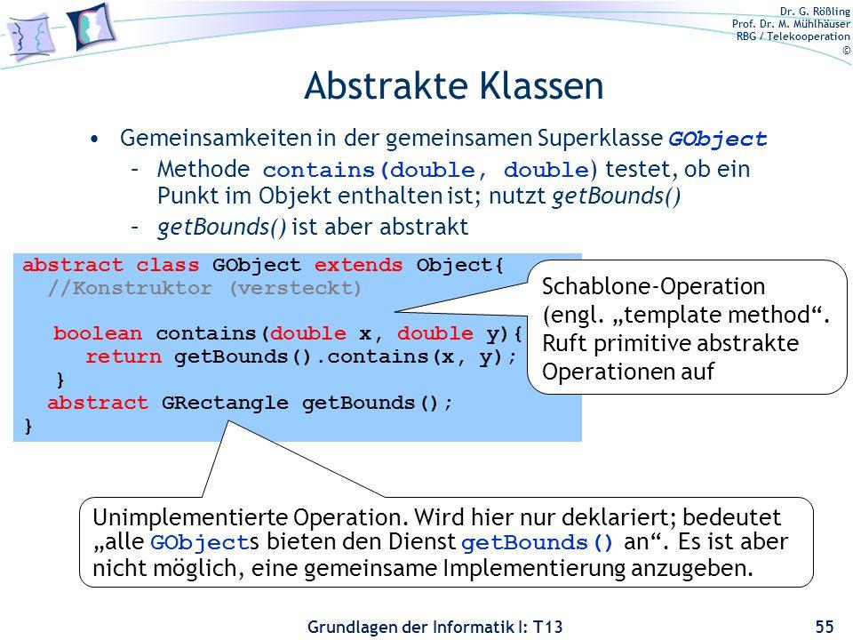 Dr. G. Rößling Prof. Dr. M. Mühlhäuser RBG / Telekooperation © Grundlagen der Informatik I: T13 Abstrakte Klassen Gemeinsamkeiten in der gemeinsamen S