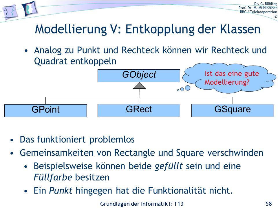 Dr. G. Rößling Prof. Dr. M. Mühlhäuser RBG / Telekooperation © Grundlagen der Informatik I: T13 Modellierung V: Entkopplung der Klassen Analog zu Punk
