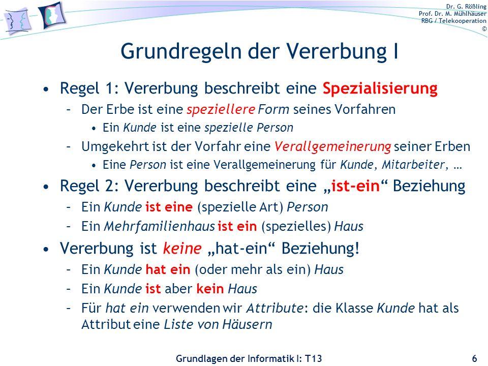 Dr. G. Rößling Prof. Dr. M. Mühlhäuser RBG / Telekooperation © Grundlagen der Informatik I: T13 Grundregeln der Vererbung I Regel 1: Vererbung beschre