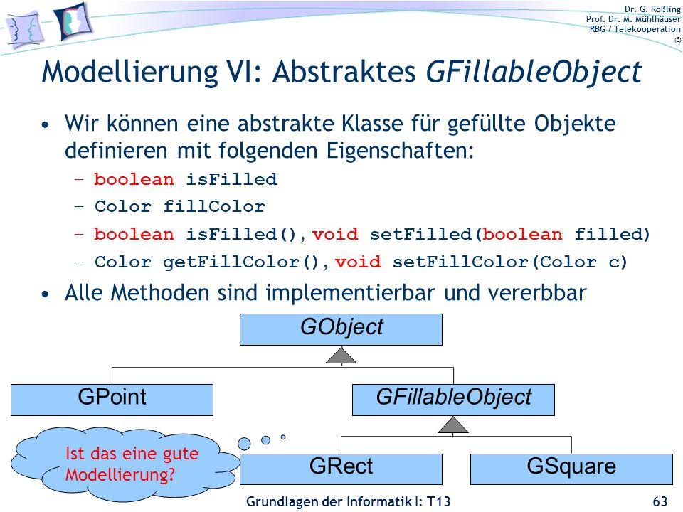 Dr. G. Rößling Prof. Dr. M. Mühlhäuser RBG / Telekooperation © Grundlagen der Informatik I: T13 Modellierung VI: Abstraktes GFillableObject Wir können