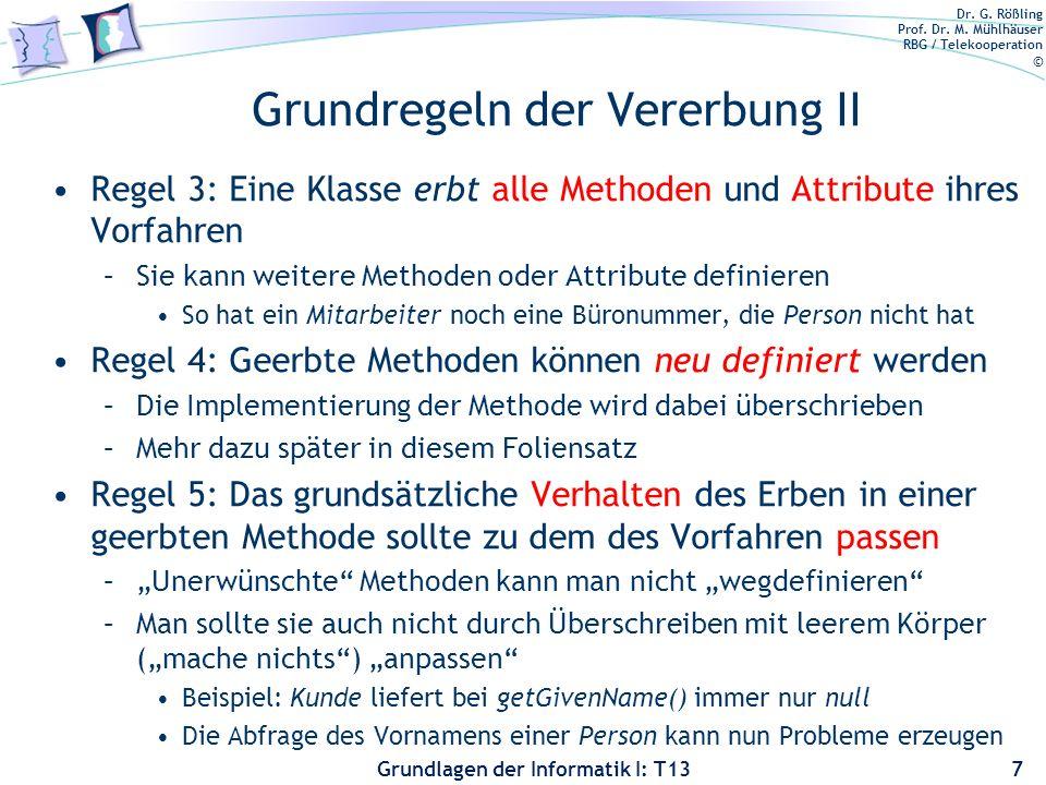 Dr. G. Rößling Prof. Dr. M. Mühlhäuser RBG / Telekooperation © Grundlagen der Informatik I: T13 Grundregeln der Vererbung II Regel 3: Eine Klasse erbt