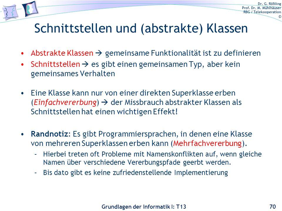 Dr. G. Rößling Prof. Dr. M. Mühlhäuser RBG / Telekooperation © Grundlagen der Informatik I: T13 Schnittstellen und (abstrakte) Klassen Abstrakte Klass