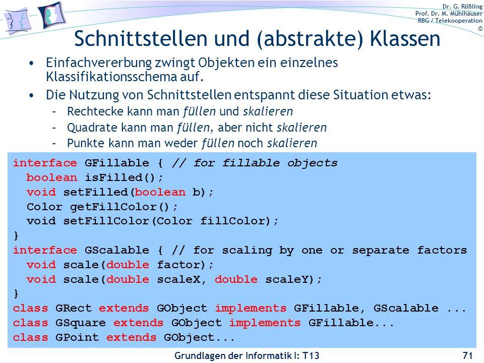 Dr. G. Rößling Prof. Dr. M. Mühlhäuser RBG / Telekooperation © Grundlagen der Informatik I: T13 Schnittstellen und (abstrakte) Klassen Einfachvererbun