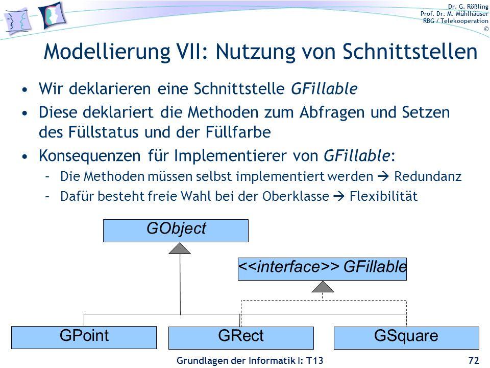 Dr. G. Rößling Prof. Dr. M. Mühlhäuser RBG / Telekooperation © Grundlagen der Informatik I: T13 Modellierung VII: Nutzung von Schnittstellen Wir dekla