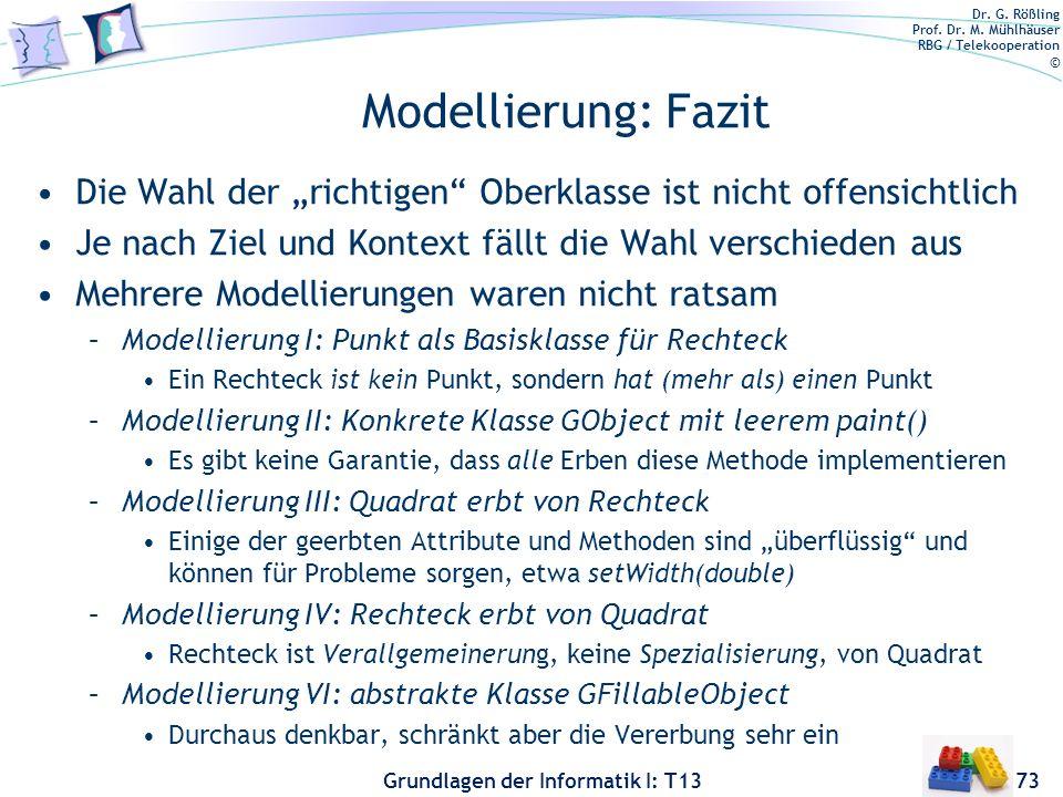 Dr. G. Rößling Prof. Dr. M. Mühlhäuser RBG / Telekooperation © Grundlagen der Informatik I: T13 Modellierung: Fazit Die Wahl der richtigen Oberklasse