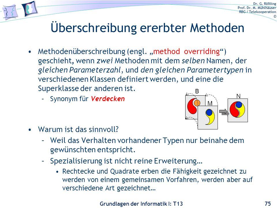 Dr. G. Rößling Prof. Dr. M. Mühlhäuser RBG / Telekooperation © Grundlagen der Informatik I: T13 Überschreibung ererbter Methoden Methodenüberschreibun