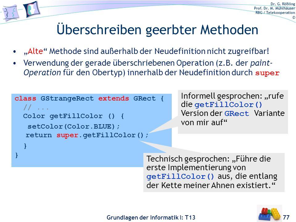 Dr. G. Rößling Prof. Dr. M. Mühlhäuser RBG / Telekooperation © Grundlagen der Informatik I: T13 Überschreiben geerbter Methoden 77 class GStrangeRect