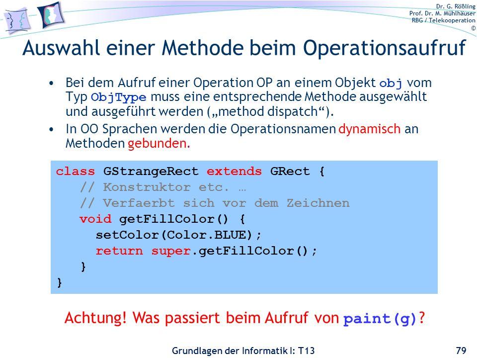 Dr. G. Rößling Prof. Dr. M. Mühlhäuser RBG / Telekooperation © Grundlagen der Informatik I: T13 class GStrangeRect extends GRect { // Konstruktor etc.