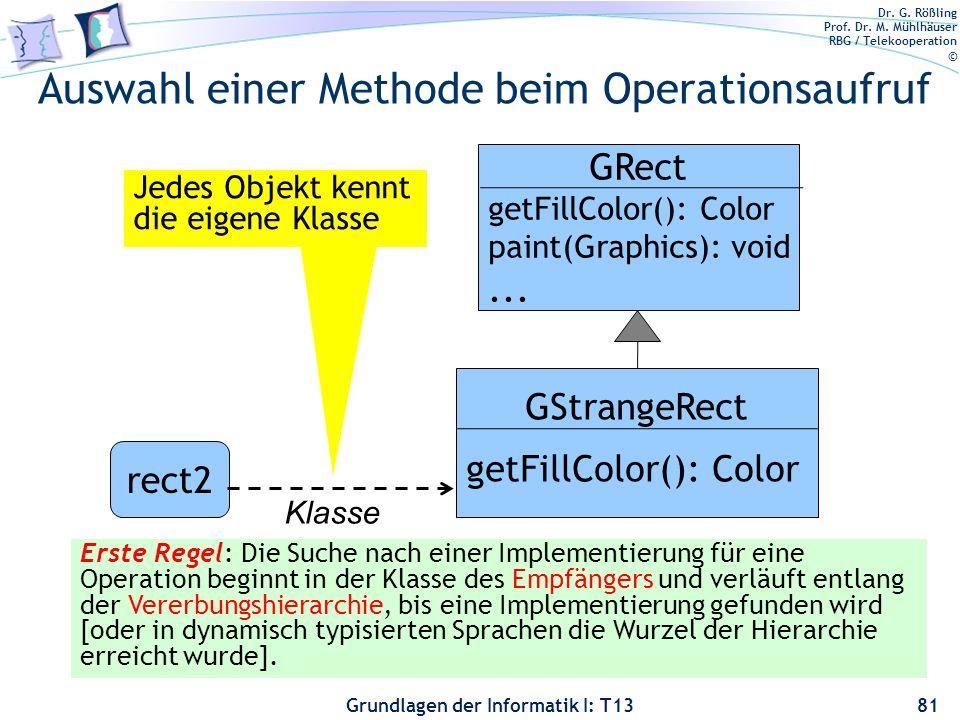 Dr. G. Rößling Prof. Dr. M. Mühlhäuser RBG / Telekooperation © Grundlagen der Informatik I: T13 Auswahl einer Methode beim Operationsaufruf 81 rect2 K