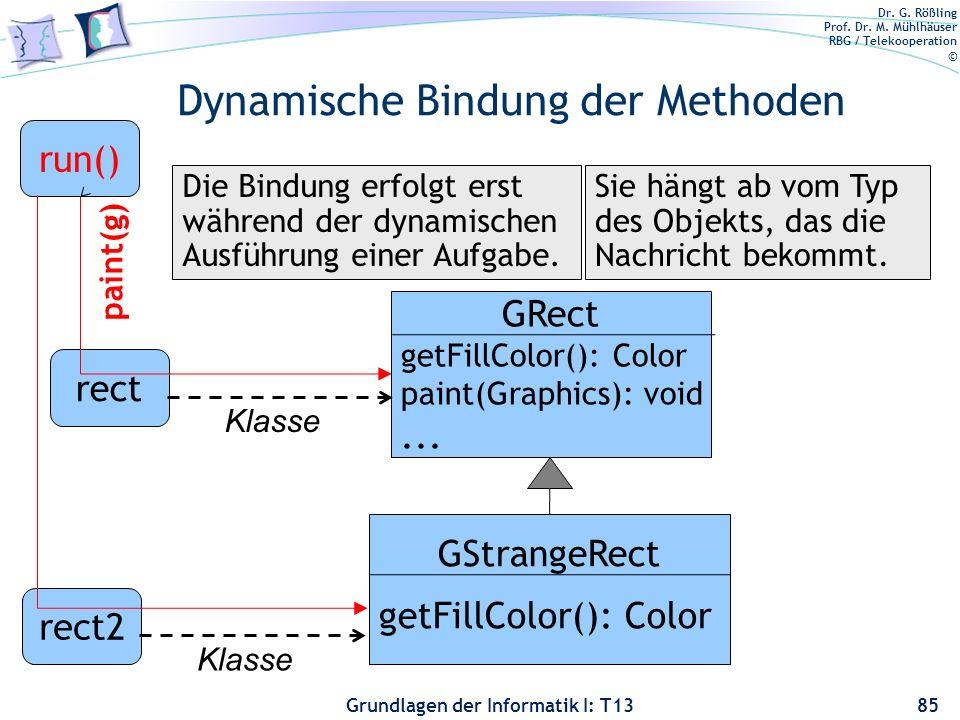 Dr. G. Rößling Prof. Dr. M. Mühlhäuser RBG / Telekooperation © Grundlagen der Informatik I: T13 Dynamische Bindung der Methoden 85 rect2 Klasse GRect