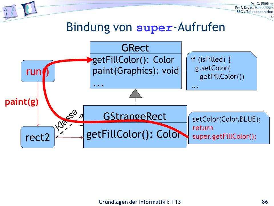 Dr. G. Rößling Prof. Dr. M. Mühlhäuser RBG / Telekooperation © Grundlagen der Informatik I: T13 Bindung von super -Aufrufen 86 rect2 Klasse GRect getF