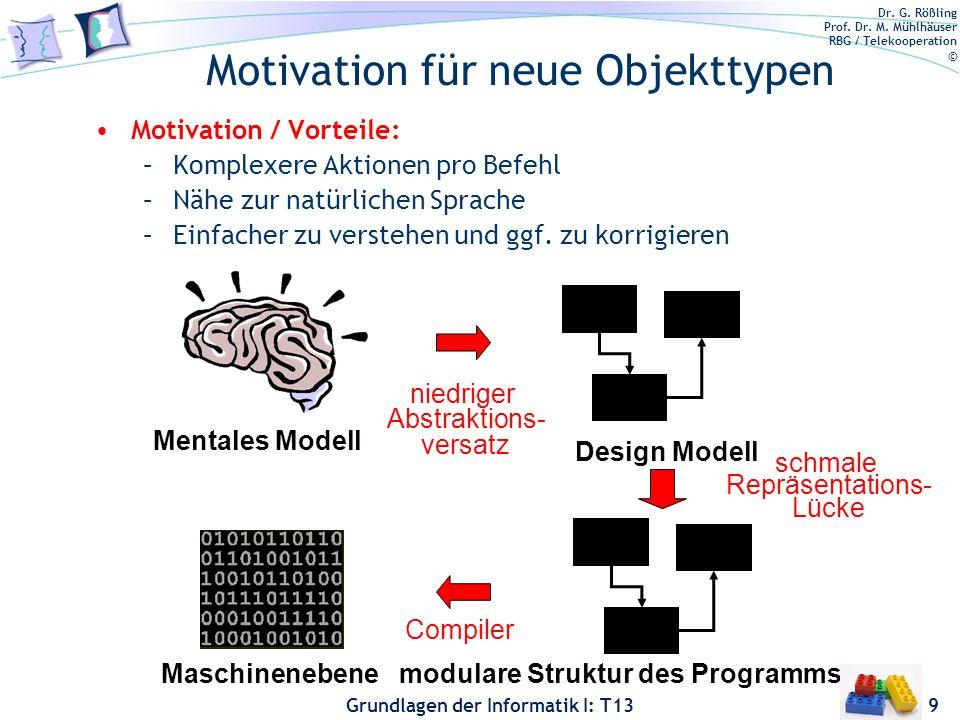 Dr. G. Rößling Prof. Dr. M. Mühlhäuser RBG / Telekooperation © Grundlagen der Informatik I: T13 Motivation für neue Objekttypen Motivation / Vorteile: