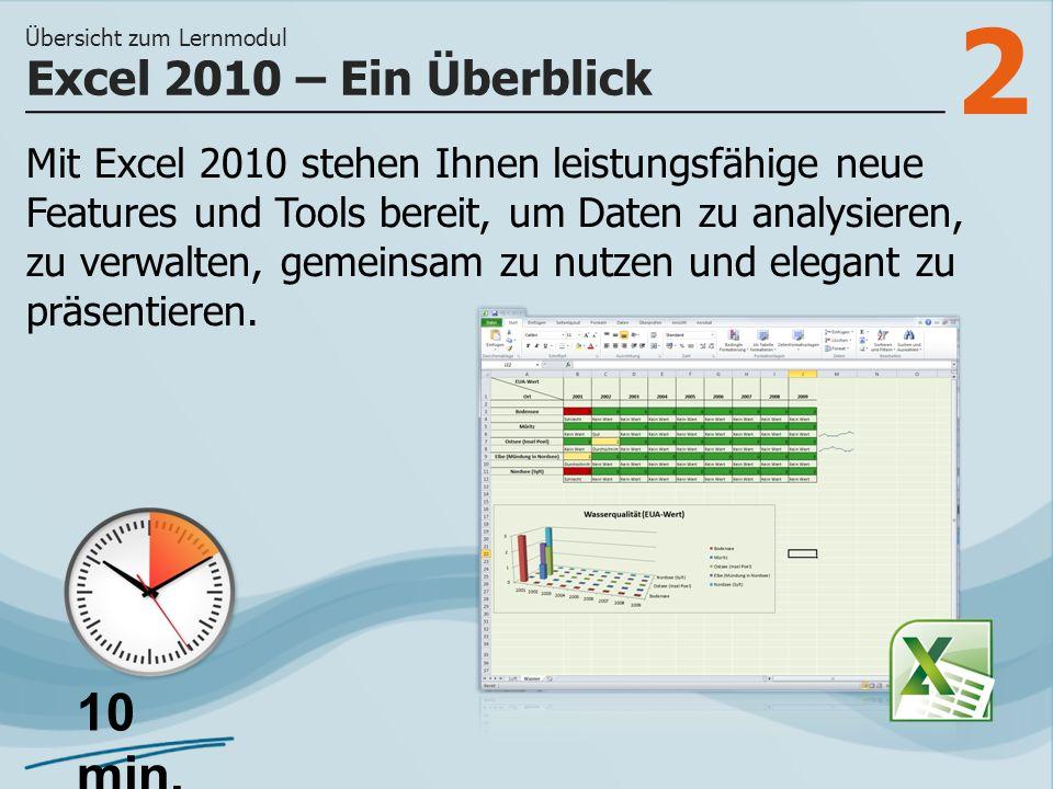 2 Mit Excel 2010 stehen Ihnen leistungsfähige neue Features und Tools bereit, um Daten zu analysieren, zu verwalten, gemeinsam zu nutzen und elegant zu präsentieren.