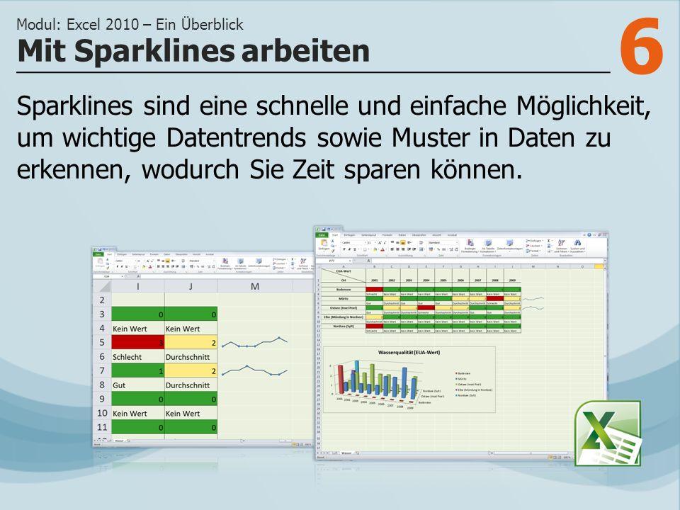 6 Mit Sparklines arbeiten Modul: Excel 2010 – Ein Überblick Sparklines sind eine schnelle und einfache Möglichkeit, um wichtige Datentrends sowie Muster in Daten zu erkennen, wodurch Sie Zeit sparen können.