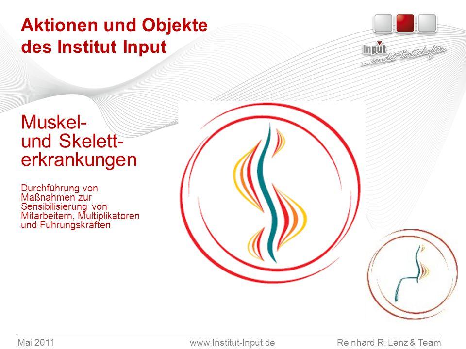 Mai 2011www.Institut-Input.deReinhard R. Lenz & Team Aktionen und Objekte des Institut Input Muskel- und Skelett- erkrankungen Durchführung von Maßnah