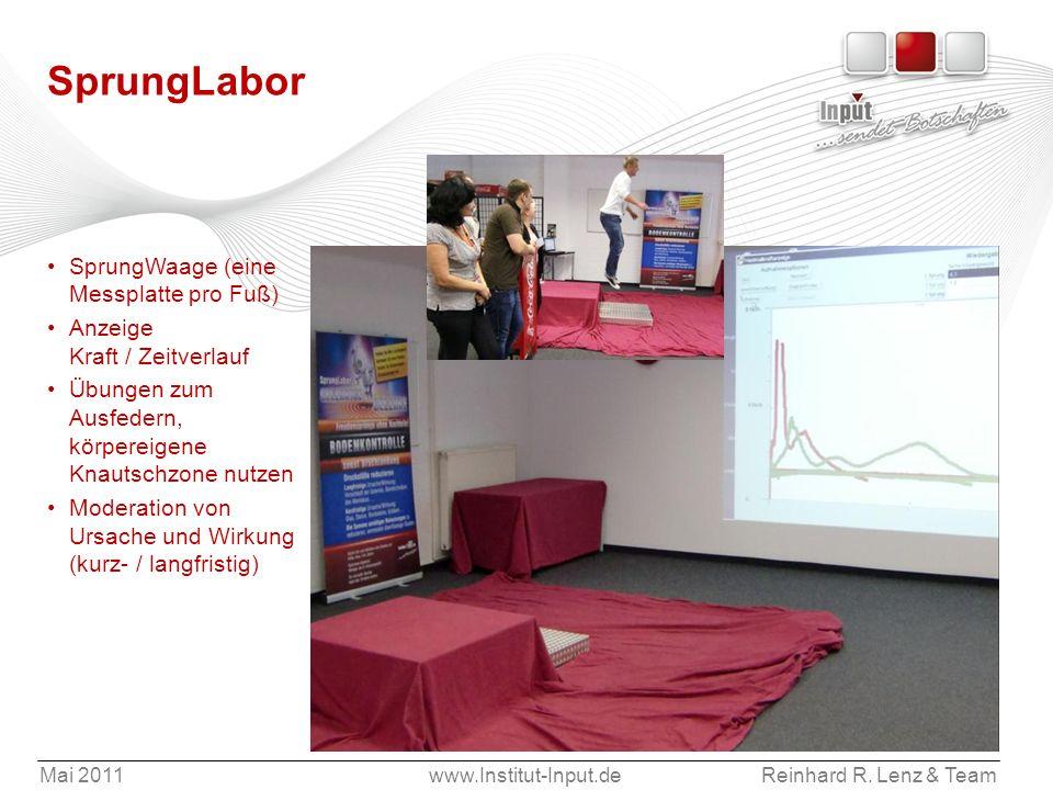 Mai 2011www.Institut-Input.deReinhard R. Lenz & Team SprungLabor SprungWaage (eine Messplatte pro Fuß) Anzeige Kraft / Zeitverlauf Übungen zum Ausfede
