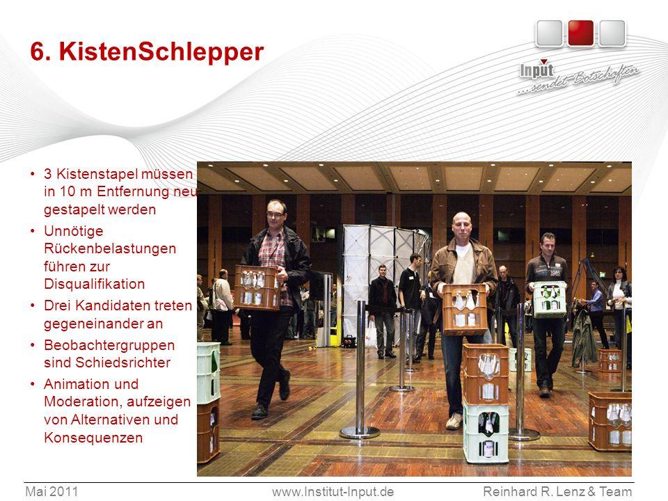 Mai 2011www.Institut-Input.deReinhard R. Lenz & Team 6. KistenSchlepper 3 Kistenstapel müssen in 10 m Entfernung neu gestapelt werden Unnötige Rückenb