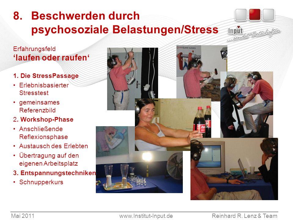 Mai 2011www.Institut-Input.deReinhard R. Lenz & Team 8. Beschwerden durch psychosoziale Belastungen/Stress Erfahrungsfeld laufen oder raufen 1. Die St