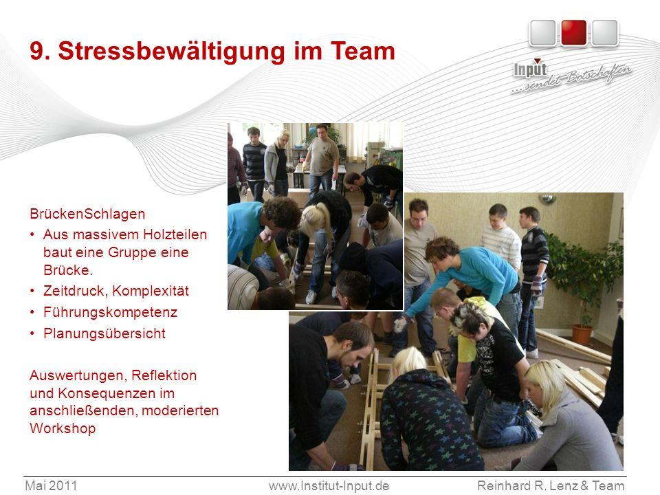 Mai 2011www.Institut-Input.deReinhard R. Lenz & Team 9. Stressbewältigung im Team BrückenSchlagen Aus massivem Holzteilen baut eine Gruppe eine Brücke