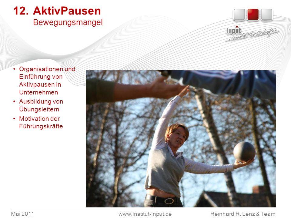 Mai 2011www.Institut-Input.deReinhard R. Lenz & Team 12. AktivPausen Bewegungsmangel Organisationen und Einführung von Aktivpausen in Unternehmen Ausb