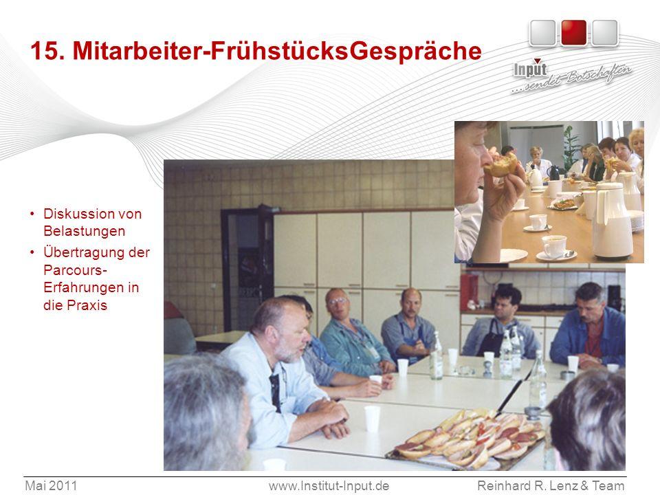 Mai 2011www.Institut-Input.deReinhard R. Lenz & Team 15. Mitarbeiter-FrühstücksGespräche Diskussion von Belastungen Übertragung der Parcours- Erfahrun