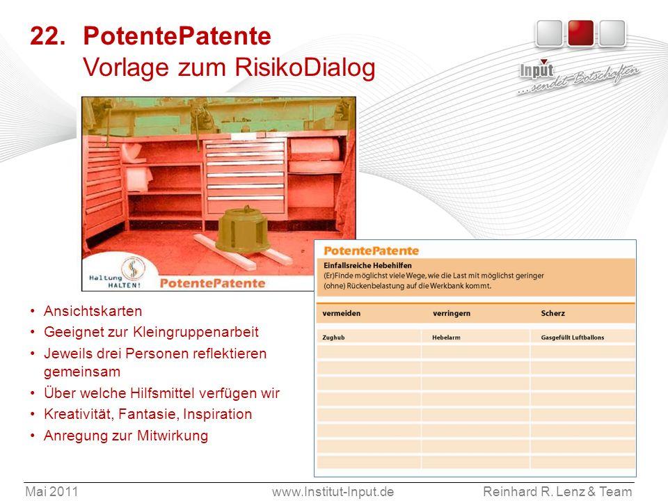Mai 2011www.Institut-Input.deReinhard R. Lenz & Team 22. PotentePatente Vorlage zum RisikoDialog Ansichtskarten Geeignet zur Kleingruppenarbeit Jeweil