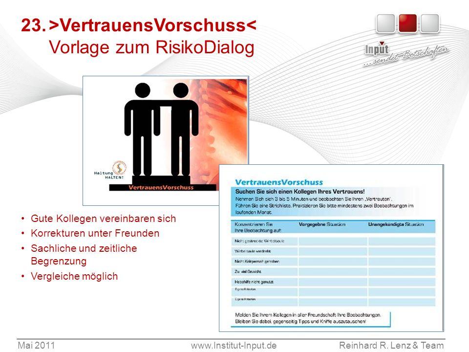 Mai 2011www.Institut-Input.deReinhard R. Lenz & Team 23.>VertrauensVorschuss< Vorlage zum RisikoDialog Gute Kollegen vereinbaren sich Korrekturen unte